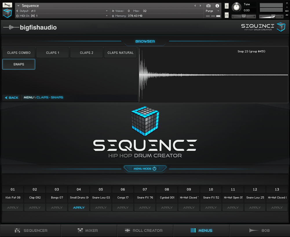 Sequence: Hip Hop Beat Creator Big Fish Audio GUI 4