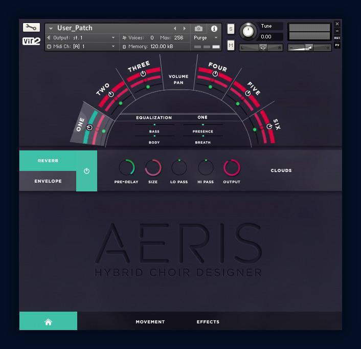 Aeris: Hybrid Choir Designer User Screen