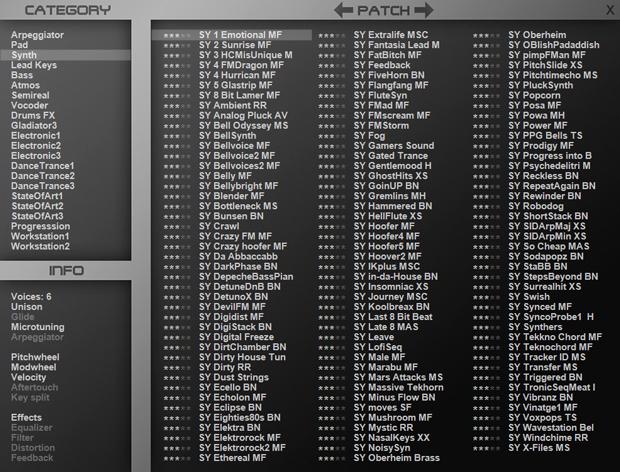 Patch list GUI image