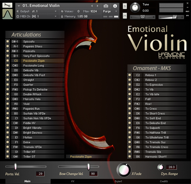 Emotional Violin GUI